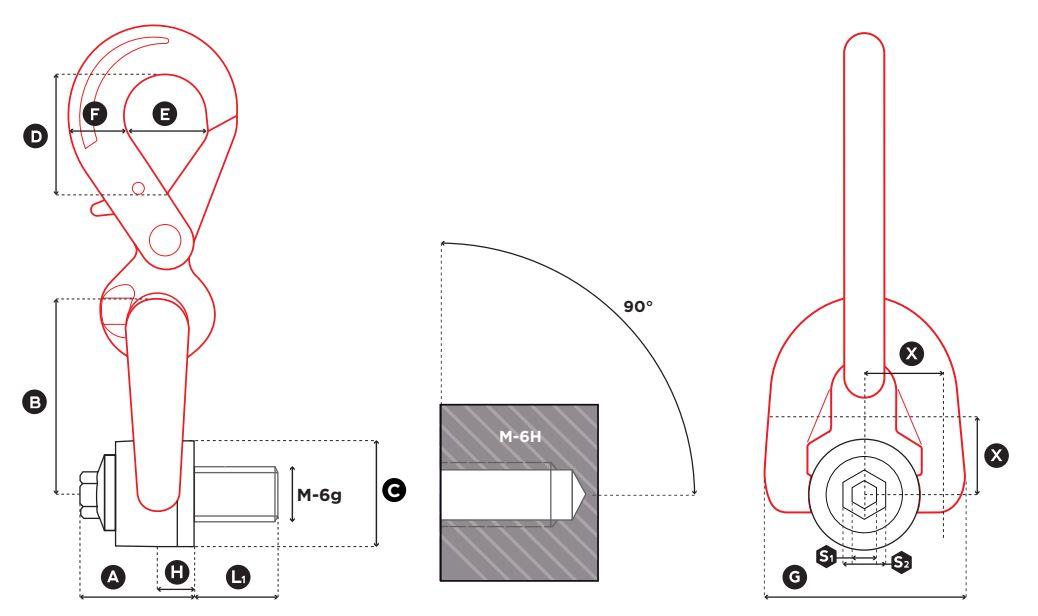 Dvojitý otočný vázací bod DSH s hákem - CODIPRO-rozměry