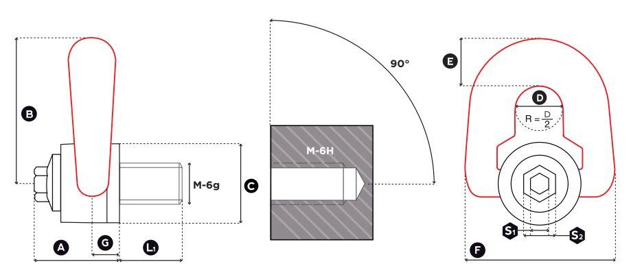 Otočný vázací bod DSP - CODIPRO-rozměry