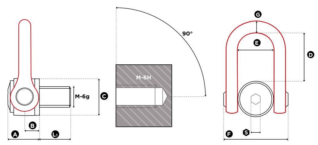 Vázací otočný bod MEGA DSS - CODIPRO-rozměry