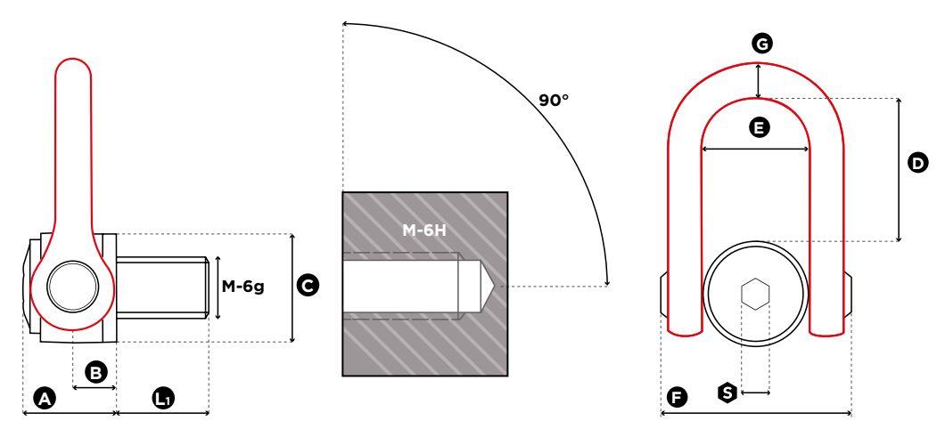 Viazací otočný bod DSS UP - CODIPRO-rozmery