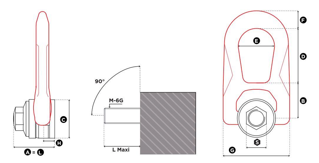 Viazací otočný bod FE.DSR UP - CODIPRO, s vnútorným závitom