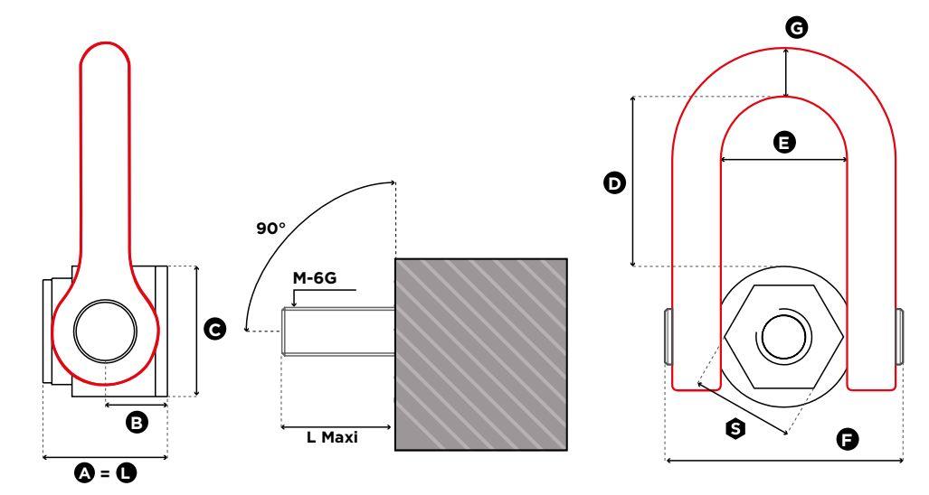 Otočný viazací bod FE.DSS UP - CODIPRO, s vnútorným závitom-rozmery