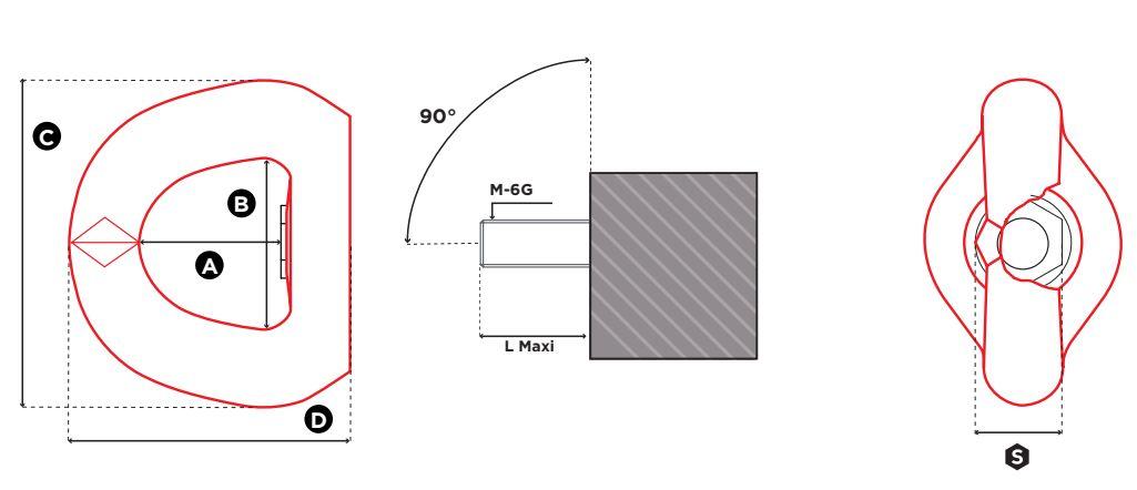 Vázací bod otočný s vnitřním závitem FE.SEB - CODIPRO-rozměry