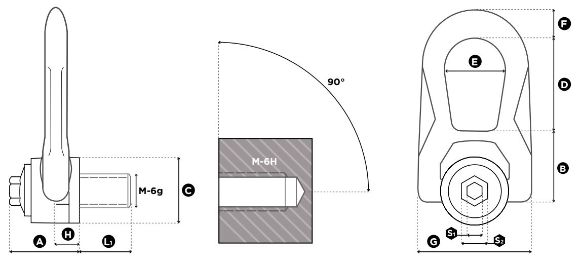 Nerezový otočný vázací bod SS.DSR - CODIPRO