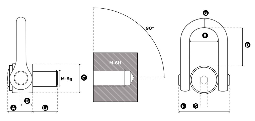 Nerezový vázací otočný bod SS.DSS - CODIPRO-rozměry