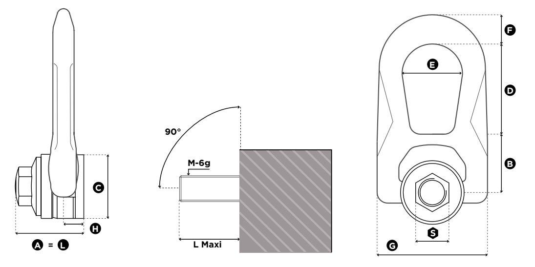 Nerezový otočný vázací bod SS.FE.DSR - CODIPRO, s vnitřním závitem-rozměry