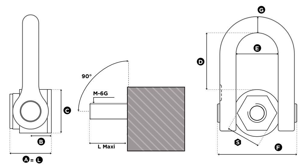 Otočný vázací bod SS.FE.DSS - CODIPRO-rozměry