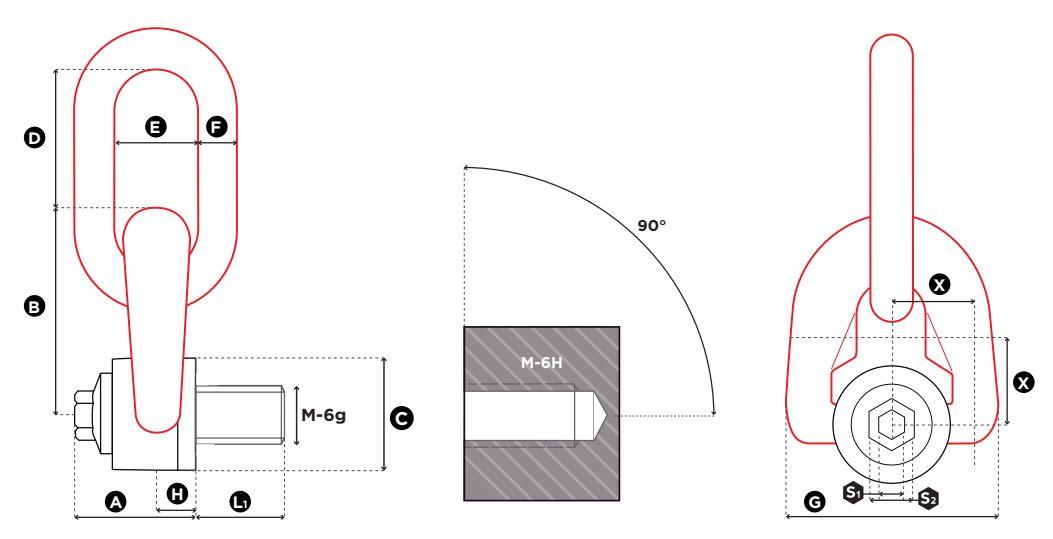 Trojitý otočný vázací bod TSR - CODIPRO-rozměry