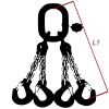 Vázací řetěz tř.12, čtyřpramenný, oko-hák, 8mm, nosnost 6300kg
