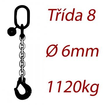 Vázací řetěz třídy 8 jednopramenný, oko-hák, průměr 6mm, nosnost 1120kg