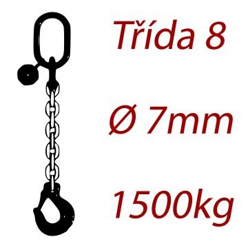 Vázací řetěz jakostní třídy 8 jednopramenný průměr řetězu 7mm nosnost 1500Kg