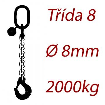 Vázací řetěz jakostní třídy 8 jednopramenný průměr řetězu 8mm nosnost 2000Kg