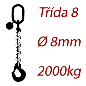 Vázací řetěz třídy 8 jednopramenný, oko-hák, průměr 8mm, nosnost 2000kg