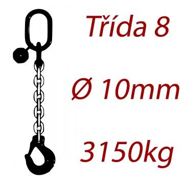 Vázací řetěz třídy 8 jednopramenný, oko-hák, průměr  10mm, nosnost 3150kg