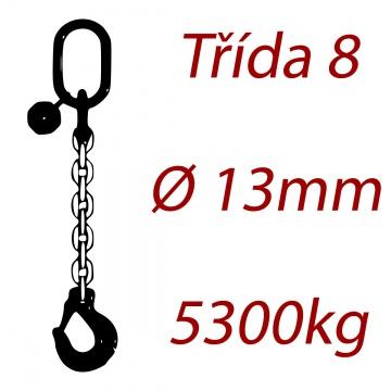 Vázací řetěz jakostní třídy 8 jednopramenný průměr řetězu 13mm nosnost 5300Kg