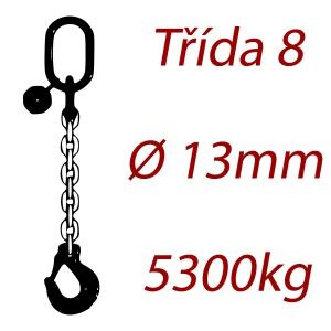 Vázací řetěz třídy 8 jednopramenný, oko-hák, průměr 13mm, nosnost 5300kg