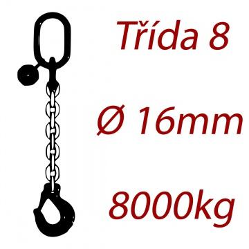 Vázací řetěz třídy 8 jednopramenný, oko-hák, průměr 16mm, nosnost 8000kg
