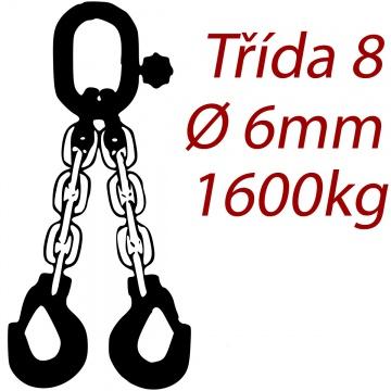 Vázací řetěz třídy 8 dvoupramenný, oko-hák, průměr 6mm, nosnost 1600kg