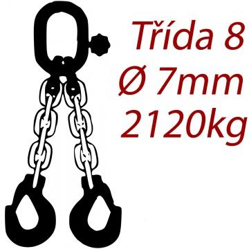 Vázací řetěz třídy 8 dvoupramenný, oko-hák, průměr  7mm, nosnost 2120kg