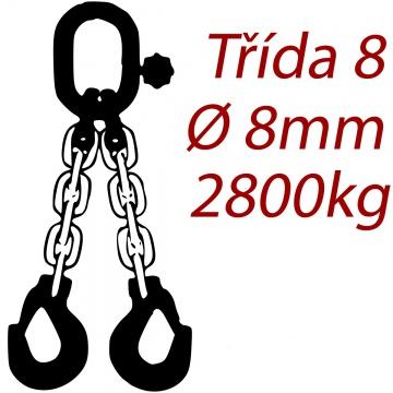 Vázací řetěz třídy 8 dvoupramenný, oko-hák, průměr  8mm, nosnost 2800kg