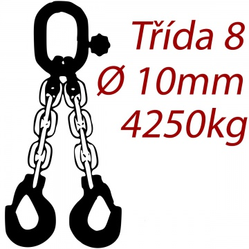 Vázací řetěz třídy 8 dvoupramenný, oko-hák, průměr 10mm, nosnost 4250kg