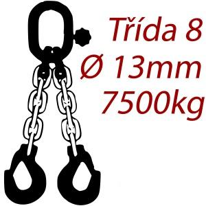 Vázací řetěz třídy 8 dvoupramenný, oko-hák, průměr 13mm, nosnost 7500kg
