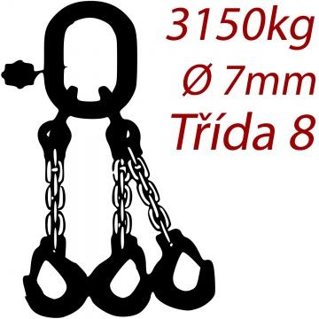 Vázací řetěz třídy 8 třípramenný, oko-hák, průměr 7mm, nosnost 3150kg