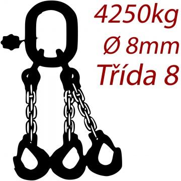 Vázací řetěz třídy 8 třípramenný, oko-hák, průměr 8mm, nosnost 4250kg