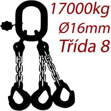 Vázací řetěz třídy 8 třípramenný, oko-hák, průměr 16mm, nosnost 17000kg