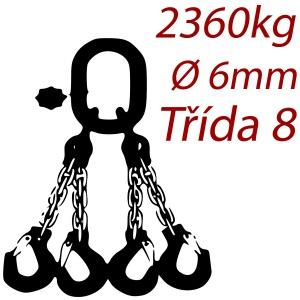 Vázací řetěz jakostní třídy 8 čtyřpramenný průměr řetězu 6mm nosnost 2352Kg