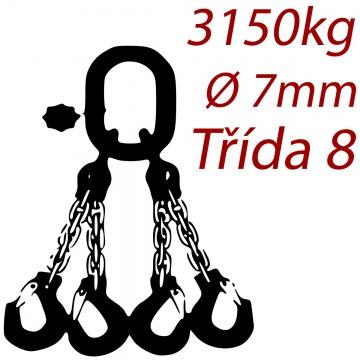 Vázací řetěz jakostní třídy 8 čtyřpramenný průměr řetězu 7mm nosnost 3150Kg