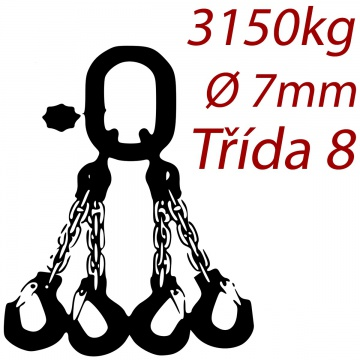 Vázací řetěz třídy 8 čtyřpramenný, oko-hák, průměr 7mm, nosnost 3150kg