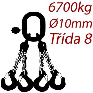 Vázací řetěz třídy 8 čtyřpramenný, oko-hák, průměr 10mm, nosnost 6700kg