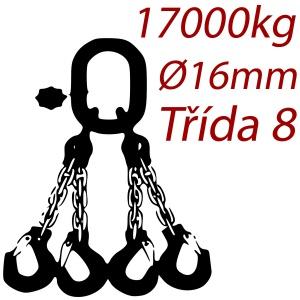 Vázací řetěz třídy 8 čtyřpramenný, oko-hák, průměr 16mm, nosnost 17000kg