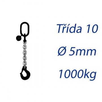 Vázací řetěz třídy 10, jednopramenný, oko-hák, průměr 5mm, nosnost 1000kg