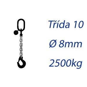 Vázací řetěz třídy 10, jednopramenný, oko-hák, průměr 8mm, nosnost 2500kg