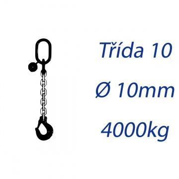 Vázací řetěz třídy 10, jednopramenný, oko-hák, průměr 10mm, nosnost 4000kg