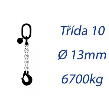 Vázací řetěz třídy 10, jednopramenný, oko-hák, průměr 13mm, nosnost 6700kg