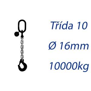Vázací řetěz třídy 10, jednopramenný, oko-hák, průměr 16mm, nosnost 10000kg
