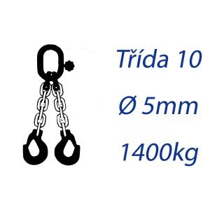 Vázací řetěz třídy 10, dvoupramenný, oko-hák, průměr 5mm, nosnost 1400kg
