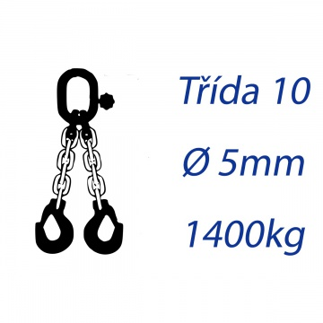 Vázací řetěz třídy 10 dvoupramenný průměr 5mm nosnost 1400Kg