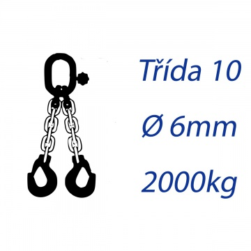Vázací řetěz třídy 10, dvoupramenný, oko-hák, průměr 6mm, nosnost 2000kg