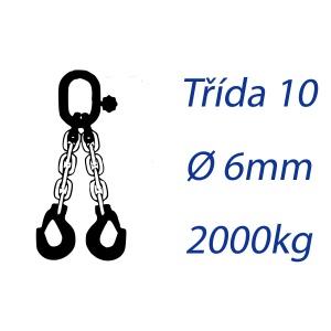 Vázací řetěz třídy 10 dvoupramenný průměr 6mm nosnost 2000Kg