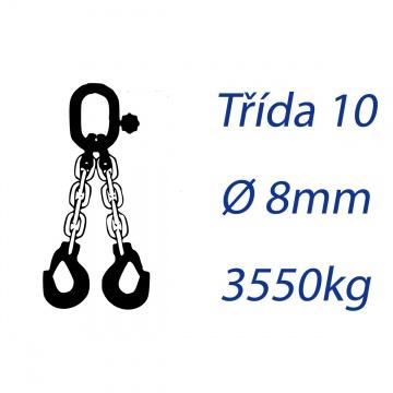 Vázací řetěz třídy 10, dvoupramenný, oko-hák, průměr 8mm, nosnost 3550kg