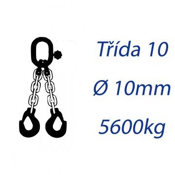 Vázací řetěz třídy 10, dvoupramenný, oko-hák, průměr 10mm, nosnost 5600kg