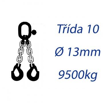 Vázací řetěz třídy 10, dvoupramenný, oko-hák, průměr 13mm, nosnost 9500kg