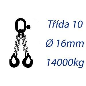 Vázací řetěz třídy 10, dvoupramenný, oko-hák, průměr 16mm, nosnost 14000kg