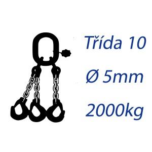 Vázací řetěz třídy 10, třípramenný, oko-hák, průměr 5mm, nosnost 2000kg