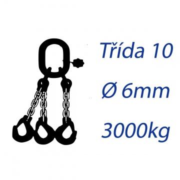 Vázací řetěz třídy 10, třípramenný, oko-hák, průměr 6mm, nosnost 3000kg