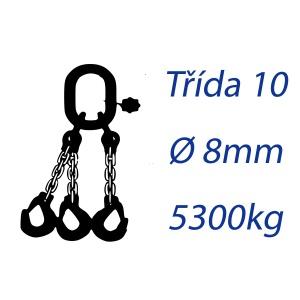 Vázací řetěz třídy 10, třípramenný, oko-hák, průměr 8mm, nosnost 5300kg